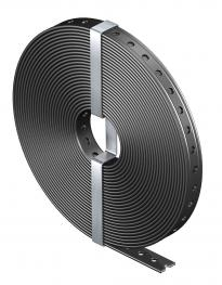 Perforated steel strap, plastic-coated