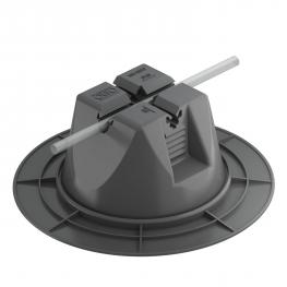Roof conductor holder for flat roofs, with increased base section