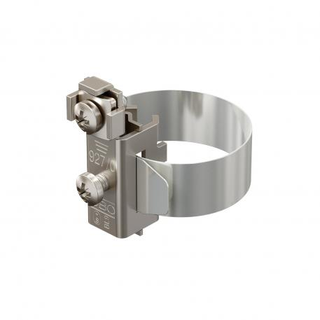 Earthing pipe clamp, nickel-plated
