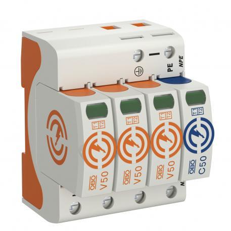 Combination arrestor V50, 3-pole + NPE 385 V