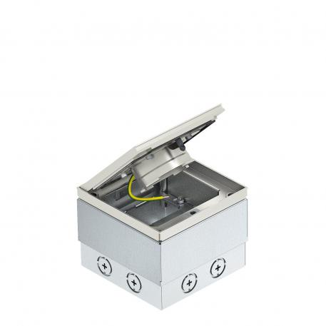 UDHOME2 floor socket, with tube body, freely equippable, stainless steel